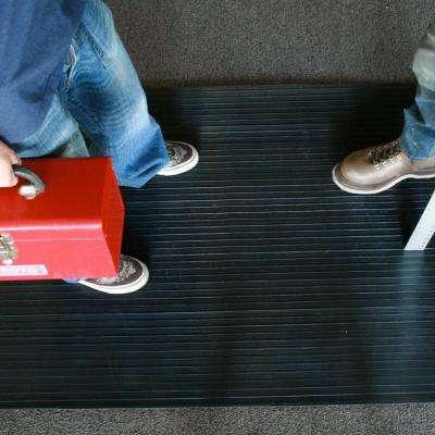 Corrugated Composite Rib Black 1/8 in. x 36 in. x 96 in. Rubber Flooring