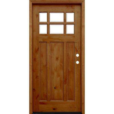 Craftsman Rustic 6 Lite Stained Knotty Alder Wood Prehung Front Door with 6 in. Wall Series