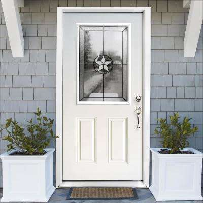 36 in. x 80 in. Reliant Series Primed White Left-Hand Half Lite Patriot Decorative Glass Fiberglass Prehung Front Door