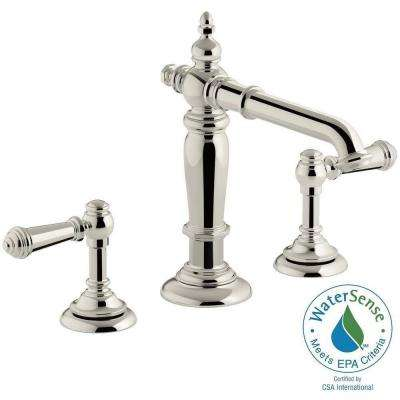 Artifacts 8 in. Widespread 2-Handle Column Design Bathroom Faucet in Vibrant Polished Nickel with Lever Handles