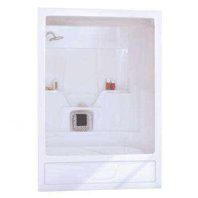Aspen 31 in. x 60 in. x 85 in. 3-Piece Direct-to-Stud Tub Wall in White