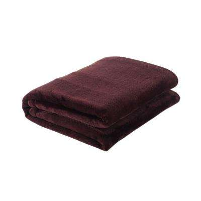49 in. W x 61 in. L Chocolate Solid Polyester Throw Blanket