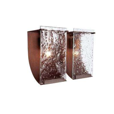 Rain 2-Light Hammered Ore Bath Vanity Light with Recycled Hand-Pressed Rain Glass