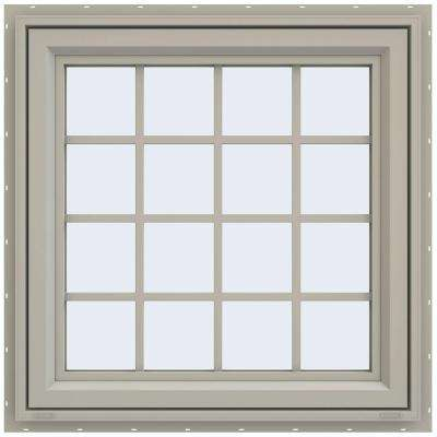 35.5 in. x 35.5 in. V-4500 Series Left-Hand Casement Vinyl Window with Grids - Tan