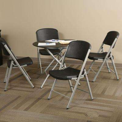 33 in. Round Personal Table in Black and Commercial Chair Combo in Black (4-Pack)