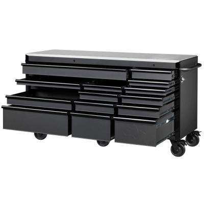 Heavy-Duty 72 in. W x 24 in. D 15-Drawer Tool Chest Mobile Workbench w/ Stainless Steel Top and Dual Locks, Matte Black