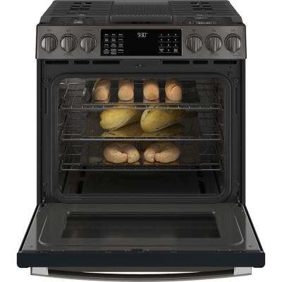 5.6 cu. ft. Slide-In Gas Range with Self-Cleaning Convection Oven in Black Stainless Steel, Fingerprint Resistant