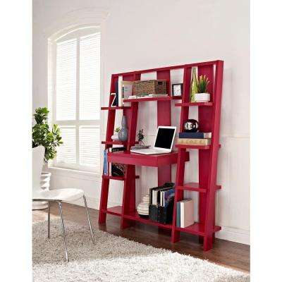 Ladder 10-Open Shelf Bookcase with Desk in Red