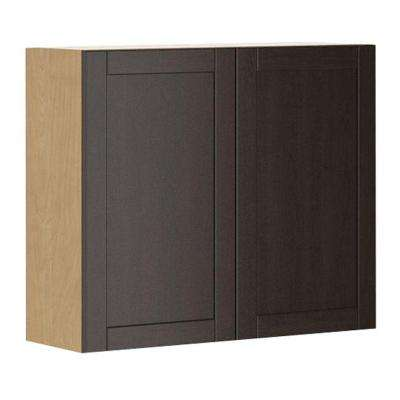 Ready to Assemble 36x30x12.5 in. Barcelona Wall Cabinet in Maple Melamine and Door in Dark Brown