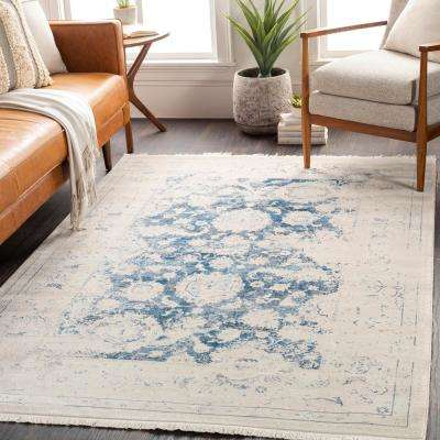 Theia Navy 2 ft. 7 in. x 9 ft. Distressed Oriental Area Rug