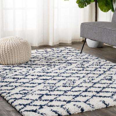 Jonathan Y Sineu Moroccan Diamond Shag Beige Navy 8 Ft X 10 Ft Area Rug Shg104b 8 The Home Depot
