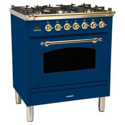 30 in. 3.0 cu. ft. Single Oven Italian Gas Range with True Convection, 5 Burners, Brass Trim in Blue