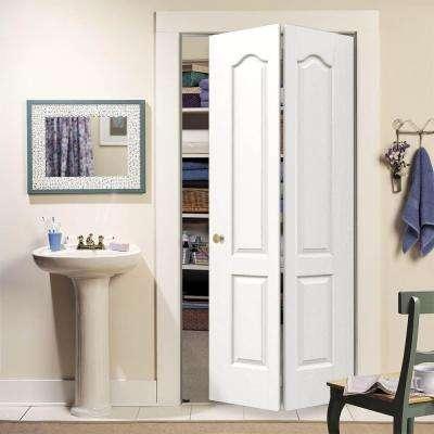 30 in. x 80 in. Camden White Painted Textured Molded Composite MDF Closet Bi-fold Door