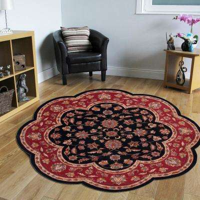 Traditional Shape Black and Red 8 ft. Scallop Plush Indoor Area Rug