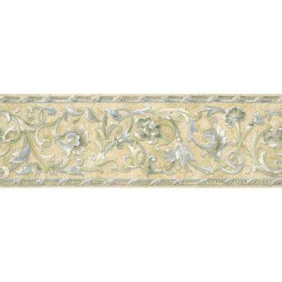 8 in. x 10 in. Blue and Beige Floral Scroll Border Sample