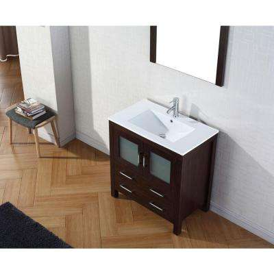 Dior 32 in. W Bath Vanity in Espresso with Ceramic Vanity Top in White with Square Basin and Mirror and Faucet
