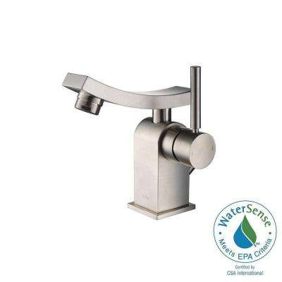 Unicus Single Hole Single-Handle Mid-Arc Bathroom Faucet in Brushed Nickel
