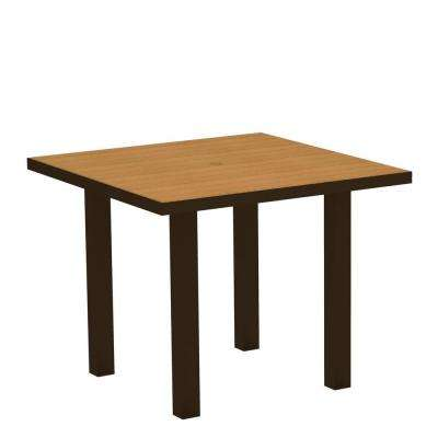 Euro 36 in. Textured Bronze Square Patio Dining Table with Plastique Natural Teak Top