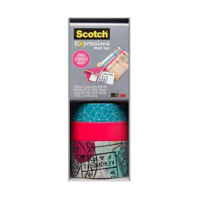 Scotch 0.59 in. x 10.9 yds. Cracked, Neon Pink Expressions Washi Tape with Storage Box (Case of 36)