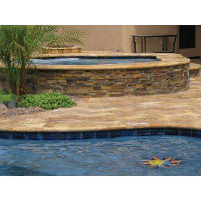 Porcini 16 in. x 24 in. Brushed Travertine Pool Coping (10 Piece / 26.7 Sq. ft. / Pallet)