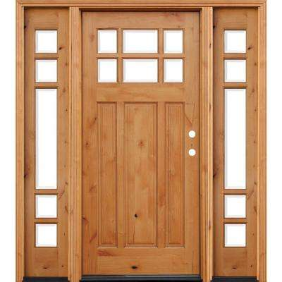 Craftsman Rustic 6 Lite Stained Knotty Alder Wood Prehung Front Door with 12 in. Sidelites