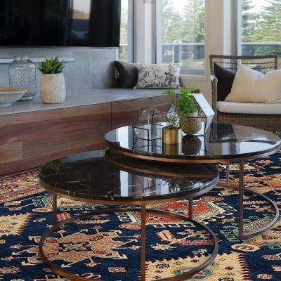 Washable Noor Sapphire 8 ft. x 10 ft. Stain Resistant Area Rug