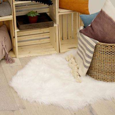 Faux-Fur 3' x 5' Area Rug, white
