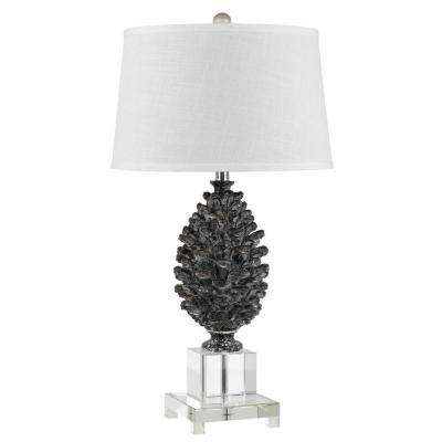 30 in. Pine Cone Resin Table Lamp with Crystal Base