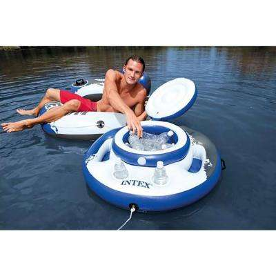 River Run Multi-Color Vinyl Round Inflatable Pool Water Tube (6-Pack) and Floating Beverage Cooler