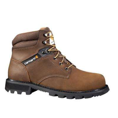 Traditional Men's Brown Leather Lug Bottom NWP Steel Safety Toe Lace-up Work Boot
