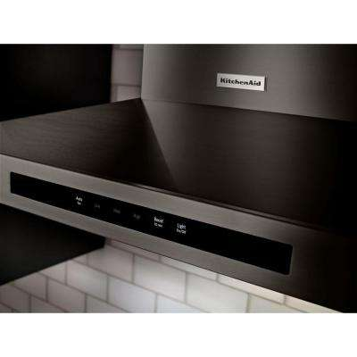 30 in. Wall Mount Canopy Range Hood in Black Stainless