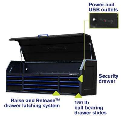 72 in. x 20 in. 10-Drawer Top Tool Chest with Power and USB Outlets in Black and Blue