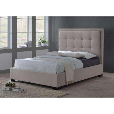 Montecito King-Size Upholstered Bed in Palazzo Mist (Khaki) Fabric