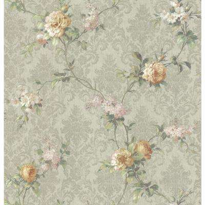 56 sq. ft. Damask Floral Wallpaper