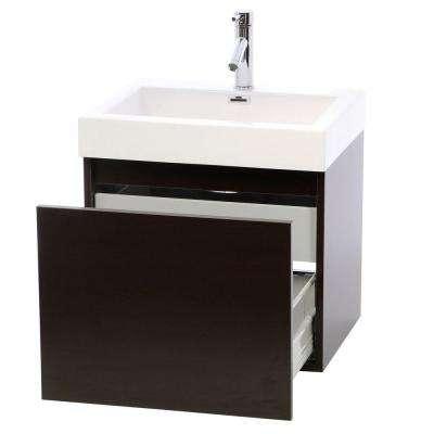 Zuri 24 in. W Bath Vanity in Wenge with Polymarble Vanity Top in White Polymarble with Square Basin