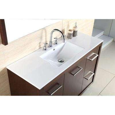 Dinuba 48 in. W x 18 in. D Single Vanity in Wenge with Ceramic Vanity Top in White with White Basin