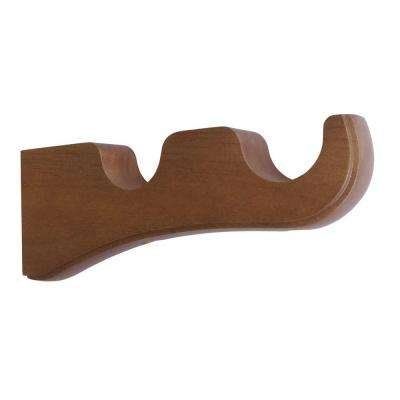 Light Brown Wood Curtain Rod Brackets Curtain Rods Hardware The Home Depot