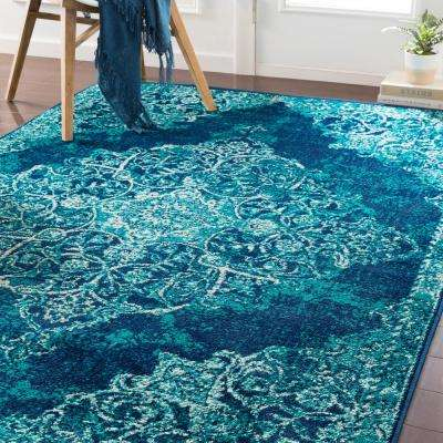 Sora Teal/Navy 8 ft. 10 in. x 12 ft. 9 in. Oriental Area Rug