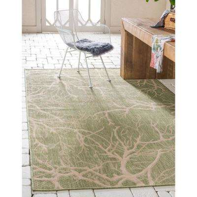 Outdoor Branch Light Green 8' 0 x 11' 4 Area Rug