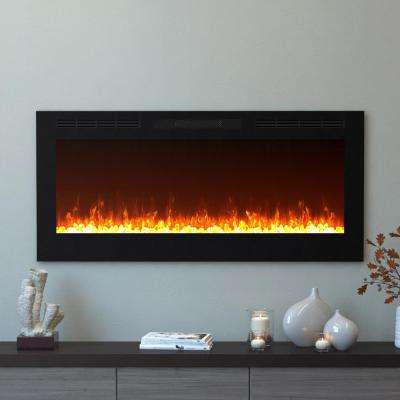 Cynergy 50 in. Crystal Electric Recessed Built-In Fireplace in Black