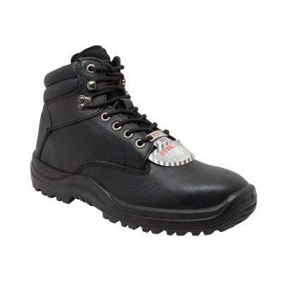 Men's Black Tumbled Leather Steel Toe TPU Work Boot