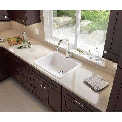 Glacier Bay Drop-in/Undermount Granite Composite 25 in. Single Bowl Kitchen Sink in White