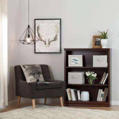 Morgan 3-Shelf Bookcase with 2 Canvas Storage Baskets in Royal Cherry