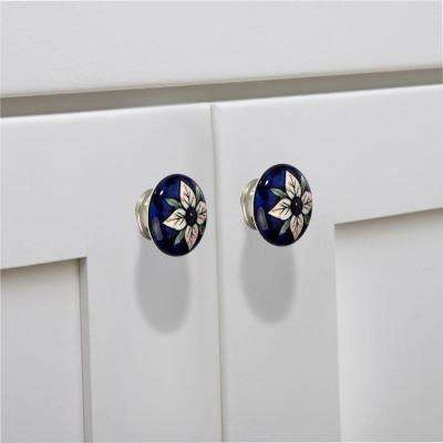 Flowered Flat 1-7/9 in. (45 mm) Blue and Multicolor Cabinet Knob