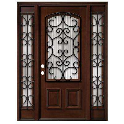 Iron Grille 3/4- Arch Lite Stained Mahogany Wood with Sidelites