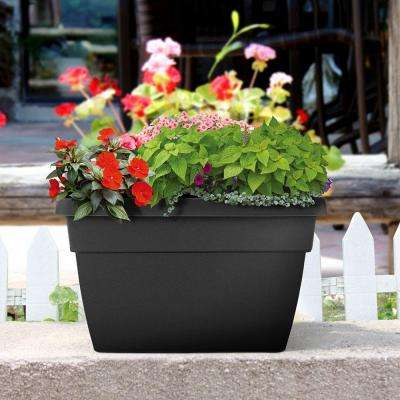 Newbury 12 in. x 15.75 in. Black Poly Railing Planter