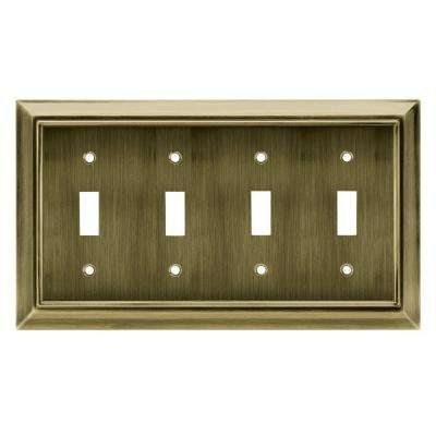 Architectural 4 Toggle Wall Plate - Antique Brass