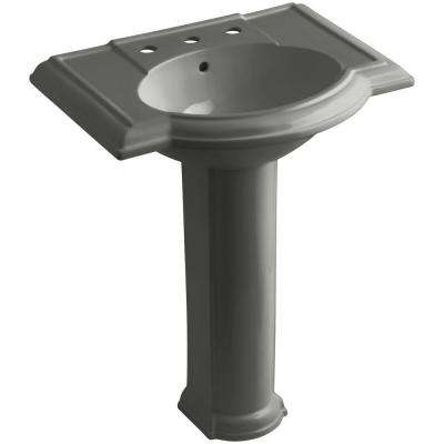 Devonshire Vitreous China Pedestal Combo Bathroom Sink in Thunder Grey with Overflow Drain