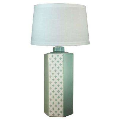 30 in. Ocean Spray Crackle Ceramic Table Lamp with Small Diamonds (3-Sides)