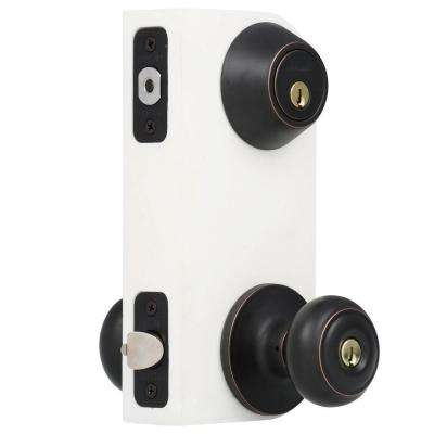 Hartford Aged Bronze Entry Knob and Single Cylinder Deadbolt Combo Pack